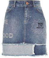River Island Womens Mid wash slogan patch denim mini skirt