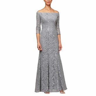 Alex Evenings Women's Long Lace Off The Shoulder Dress with 3/4 Sleeves
