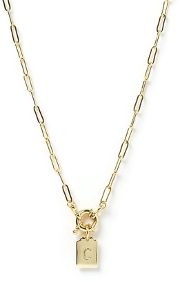 Arms Of Eve Letter Gold Tag Necklace C