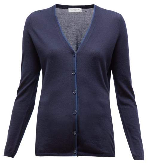 Gabriela Hearst Nerry V-neck Cashmere-blend Cardigan - Womens - Navy Multi