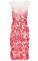 Quiz Cream And Coral Crochet Dip Dye Midi Dress