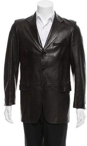 Christian Dior Leather Three-Button Blazer