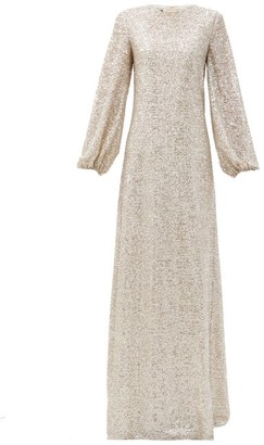 Rochas Puff-sleeve Sequinned-jersey Maxi Dress - Silver