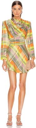 GRLFRND Leona Mini Dress in Green Plaid | FWRD