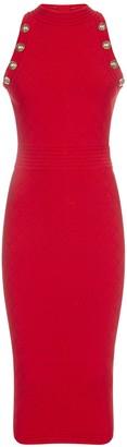 Balmain Buttoned Stretch Knit Midi Dress