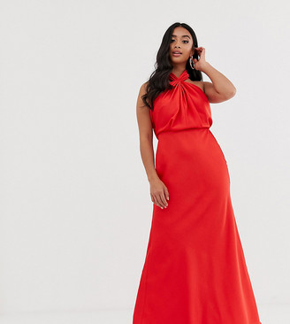 ASOS EDITION Petite ruched halter neck maxi dress
