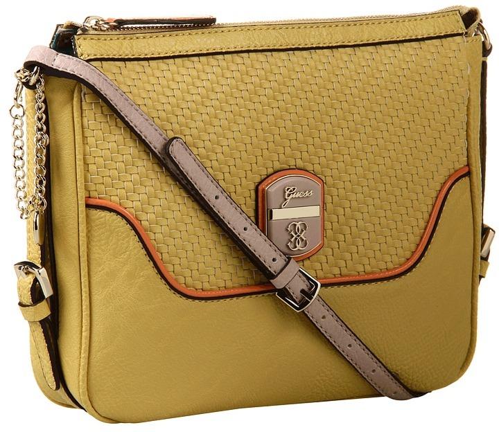 GUESS Makala Crossbody Top Zip (Yellow Multi) - Bags and Luggage