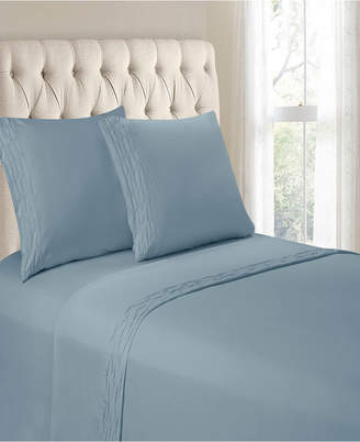 Hudson & Main Diamond Ruched Hem 3 Pieces Twin Sheet Set Bedding