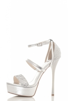 Quiz Silver Multi Strap Shimmer Platform Sandals