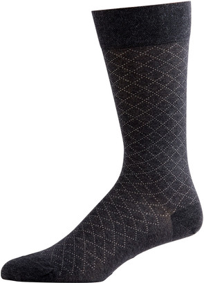 Marcoliani Milano Men's Pima Cotton Micro-Argyle Socks