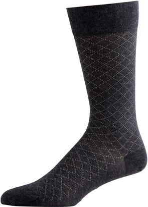 Marcoliani Milano Men's Pima Cotton Micro-Argyle Socks