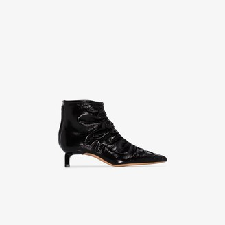 REJINA PYO Black Erin 30 ruched leather boots