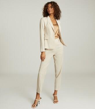 Reiss Tanya - Wool Blend Slim Fit Blazer in Stone