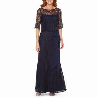 Maya Brooke Short Sleeve Embellished Lace Evening Gown