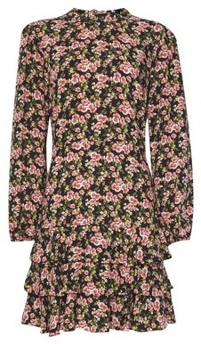 Dorothy Perkins Womens Pink Floral Print Ruffle Skirt Fit And Flare Dress