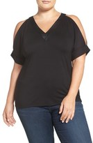 MICHAEL Michael Kors Faux Leather Trim Cold Shoulder Top (Plus Size)