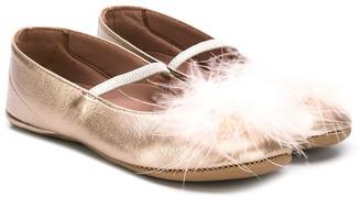 Pépé Fur Pom Pom Ballerinas