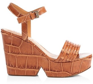 Clergerie Dany Croc-Embossed Leather Platform Wedge Sandals