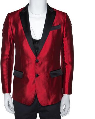 Dolce & Gabbana Red Silk Martini Vest and Tuxedo Blazer Set S