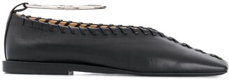 Jil Sander Leather Stitch Ballerina Pumps With Silver Bangle
