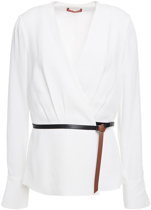 Altuzarra Leather-trimmed Satin-crepe Wrap Top