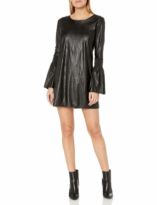 BCBGeneration Women's Faux Leather Smocked Sleeve Dress