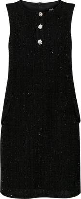 Wallis Black Diamante Button Jacquard Shift Dress