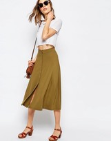 Asos Midi Skater Skirt with Poppers