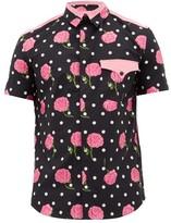 Paco Rabanne Rose And Polka Dot-print Cotton Shirt - Mens - Black