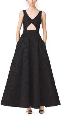 Michael Kors Soutache-Embroidered Cutout Mikado Dress