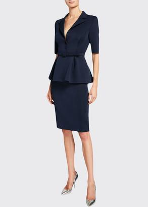 Badgley Mischka Elbow-Sleeve Retro Peplum Coat Dress