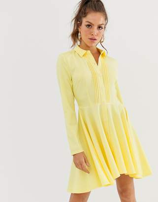 UNIQUE21 pleated front shirt dress-Yellow