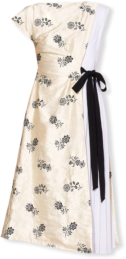 Thumbnail for your product : Erdem Herbert Metallic Floral-Print Pleated A-Line Dress