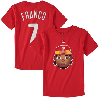 Majestic Youth Maikel Franco Red Philadelphia Phillies Name & Number Emoji T-Shirt