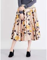 Rochas Roses-print satin skirt