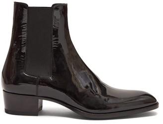 Saint Laurent Wyatt Patent-leather Chelsea Boots - Mens - Black