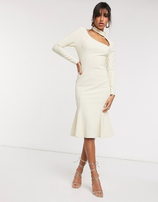 ASOS DESIGN rib high neck long sleeve cut away midi dress in sand