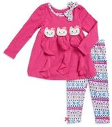 Nannette Little Girl's Kitty Accented Tunic and Printed Leggings Set
