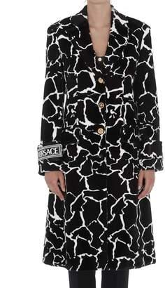 Versace Eco Fur Coat With Giraffe Motif