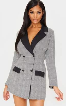 PrettyLittleThing Black Checked Long Sleeve Contrast Blazer Dress