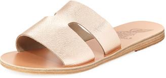 Ancient Greek Sandals Apteros Cutout Leather Flat Slide Sandals