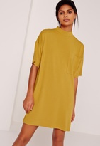 Missguided Ribbed Pocket Dress Yellow