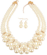 Ella & Elly Women's Earrings White - White Imitation Pearl Layered Statement Necklace & Drop Earrings