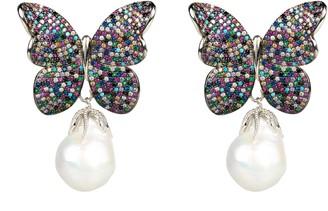 Latelita Baroque Pearl Multi Coloured Butterfly Earrings Silver