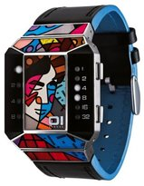 01 The One 01TheOne Unisex SC124W1 Split Screen Romero Britto Art Blue Watch