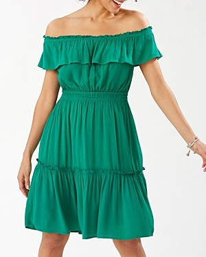 Tommy Bahama Caicos Crinkle Off-the-Shoulder Dress