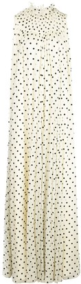 Adam Lippes Smocked Neck Polka Dot Dress