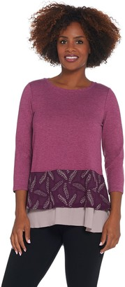 LOGO Lounge by Lori Goldstein French Terry Top with Embroidered Hem
