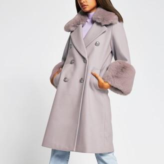 River Island Womens Purple faux fur cuff swing coat