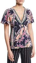 Nanette Lepore Venus Short-Sleeve Floral Silk Top, Black/Multicolor
